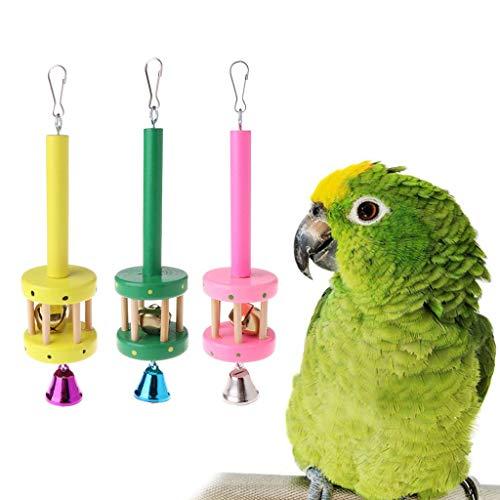 N-K pulabo Good Looking Papagei Spielzeug hängen natürliche Holz Ring Bell Sound dekorative Käfig Vögel Sittich Premium-Qualität