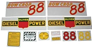 Tractor Decal Set, Oliver 88 Row Crop Diesel, Red, Mylar