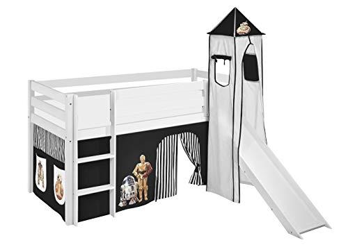 Lilokids Spielbett Jelle Star Wars, Hochbett mit Turm, Rutsche und Vorhang Kinderbett, Holz, schwarz, 208 x 98 x 113 cm