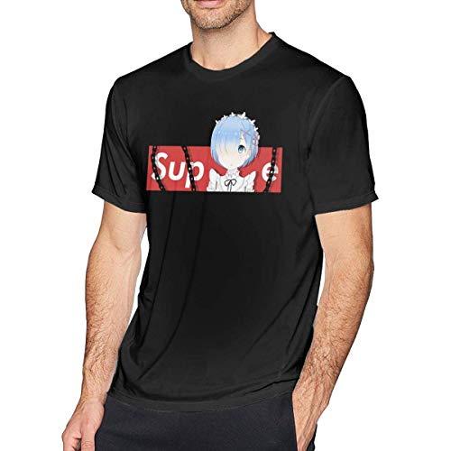 Thimd Re-Zero Rem - Camiseta de manga corta para hombre negro L