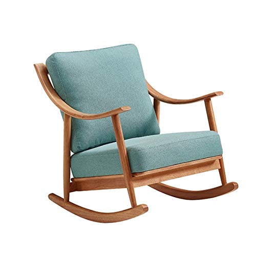 ChengBeautiful Rocking Chair Nordic Balcony Solid Wood Rocking Chair Recliner For Adults Home Lazy Sofa Modern Living Room Leisure Rocking Chair (Color : Blue, Size : 96x70.5x81cm)