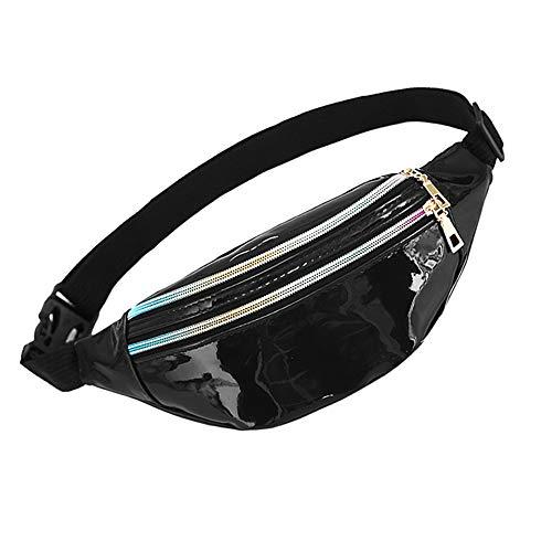 WD&CD Cangurera Deportiva Cinturón Bolso Unisex Moda PU Holográfica Cintura Bolsa Brillante Paquete de Cintura Bolsa de Cintura para CoWalkers, Riñonera Running Impermeable -Negro (Varios)