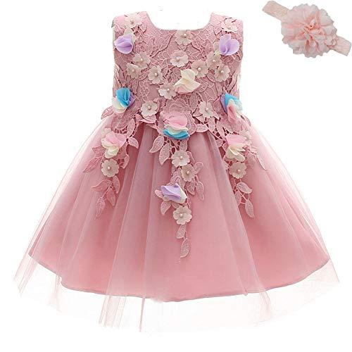 AHAHA Rosa Baby Mädchen Prinzessin Kleider Blumenmädchen Kleid Geburtstagsparty Kleid Brautkleider für Baby (0-2 Jahre)