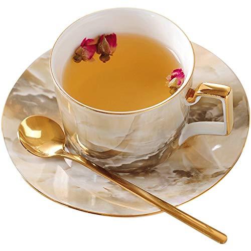 Taza de café 250ml veteado Taza y platillo de lujo Bone China té de flor de té de la tarde Inglés Negro taza de té juego de té de cerámica creativa personalizada taza de café taza de porcelana