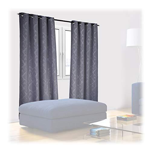 Relaxdays Vorhänge 2er Set, HxB 245x135 cm, Blickdicht, lichtundurchlässig, barockes Muster, Verdunkelungsvorhänge, grau