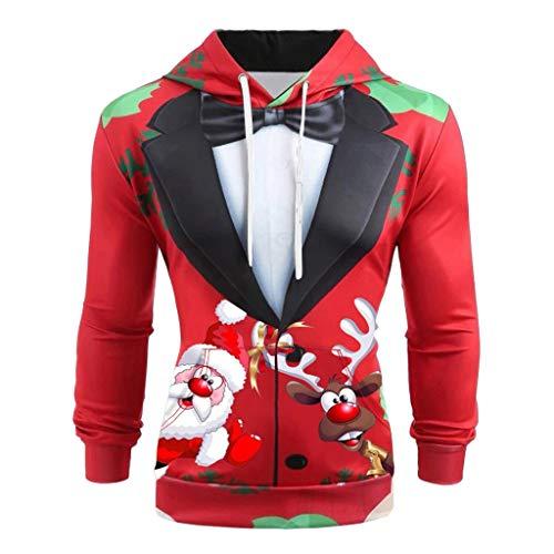 3D Funny Christmas Hoodie Printed Sweatshirt,〓FEISI22〓 Ugly Sweater Long Sleeve Pullover Sweatshirt Tops for Men Women D-red