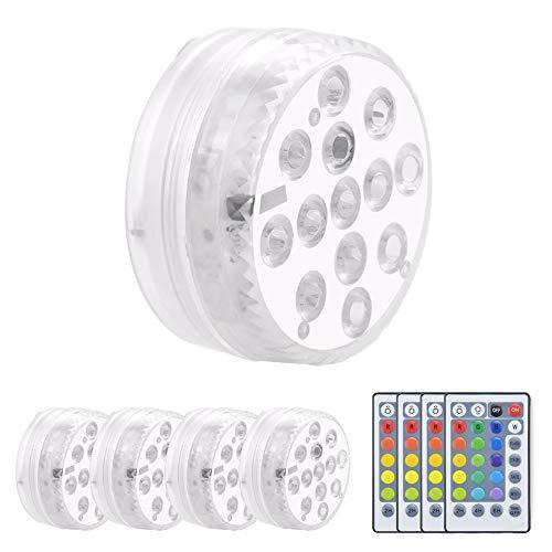 Luxvista 1W RGB Luz LED Sumergibles, Impermeable IP68 con Mando a Distancia para Iluminación Decorativa de Piscina, Acuario,...