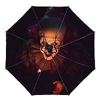 全自動傘 ペニーワイズ イット. 梅雨の天気 夏の強い台風 晴雨互換 折り畳み傘 防水 日よけを防ぐ 紫外線防止 自動スイッチ 傘 プリント 外皮が黒い 折り畳み傘