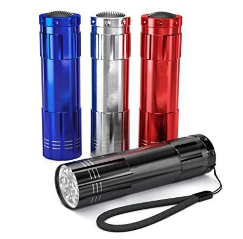 Pack of 4, Super Bright 9 LED Mini Aluminum Flashlight with Lanyard, Assorted Colors, Batteries Not Included, Best Tools for Camping, Hiking, Hunting, Backpacking, Fishing, BBQ and EDC (4 Colors)