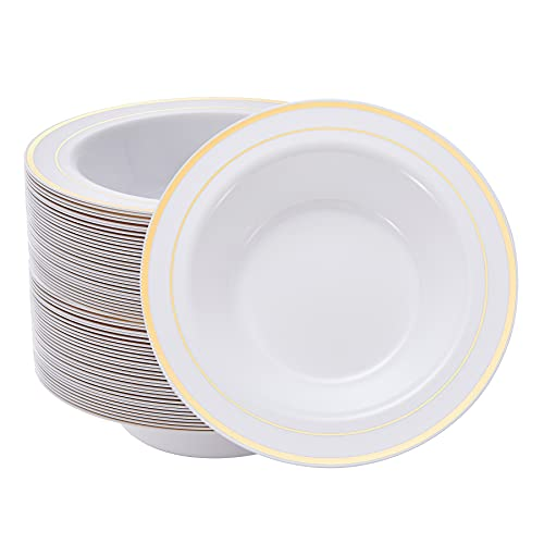 N9R 30 Pack Disposable Soup Bowls with Gold Rim, 12 Oz Fancy Plastic Soup Bowls for Holidays, Parties, Weddings, Catering,and Everyday Use