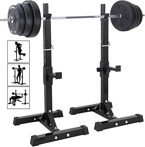 Alderman Pair of Adjustable Squat Rack Standard 40-63 Inch Solid Steel Squat Stands Barbell Free-Press Bench Home Gym Portable Dumbbell Racks Stands Max Load 550LB