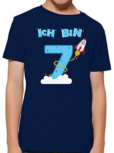 Shirtracer Ich bin Schon 7 Geburtstag Rakete Jungen T-Shirt (Navy, 9-11 Jahre 134-146 cm)
