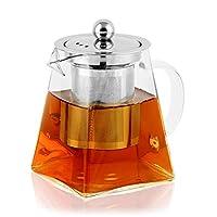 bonnacc teiera in vetro teiera da con filtro infusore in acciaio inossidabile resistente al calore perfetto per tè e caffè (350ml)