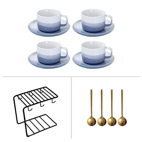 ZZRR Juego de Tazas de café de Cuatro Piezas con Orejas Colgantes Creativas, con portavasos y Cuchara, Adecuado para café y Leche, se Puede Usar para Regalos o Uso Personal
