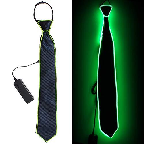 Bonamana LED Leuchten Krawatten Kostüm Zubehör für Neue Jahre Rave Party Leuchten Krawatte (Grün)