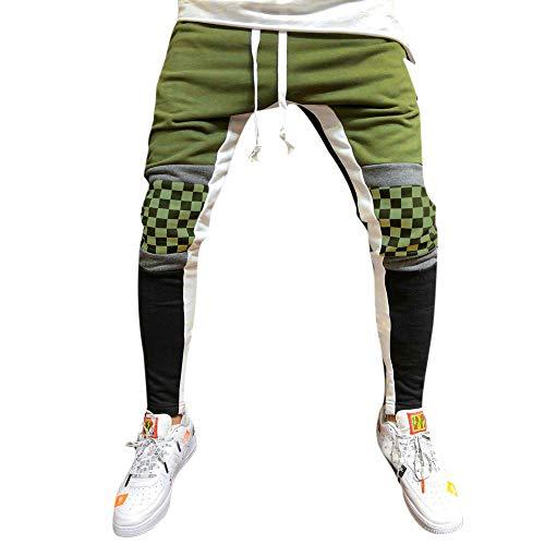 MäNner SpleißEn Gitter Overall Casual Pocket Sport Work Hosen Herren Jogginghose Trainingshose FüR Fitness Gym Training Slim Fit Sweatpants Streifen Jogging-Hose Stripe Pants(Armeegrün,XL)