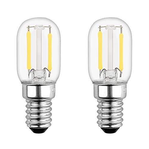 Bombillas LED Nevera E14 2W Luz Fria 6000K, T22, 200LM, Equivalente a 10W-20W, Casquillo Fino, Retro Vintage LED E14 Pequeña para Frigorífico, Luz de Noche, No Regulable, pack de 2