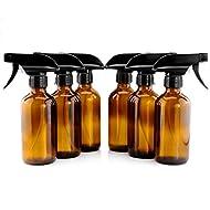 8-Ounce Amber Glass Spray Bottles (6-Pack); w/ Heavy Duty 3-Setting Adjustable Sprayers