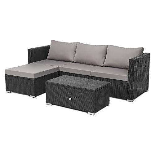 SVITA Queens Poly Rattan Sitzgruppe Couch-Set Ecksofa Sofa-Garnitur Gartenmöbel Lounge Schwarz, Grau oder Braun (Schwarz)