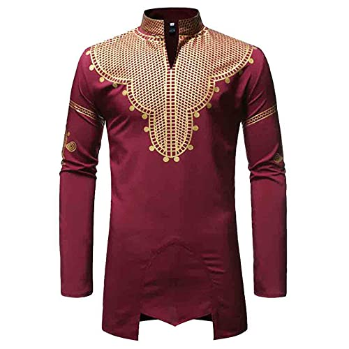 YUTING Camisa para hombre, cuello alto, estampado, banquete irregular, corte ajustado. rojo S