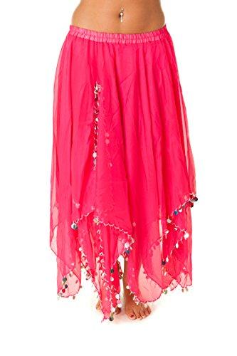 Turkish Emporium - Falda de danza del vientre, falda de danza del vientre, color fucsia/plata