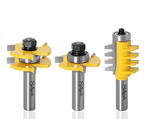 Tongue and Groove Router Bit Set, SellyOak 1/2 Shank Tongue and Groove Router Bits + 1/2 Shank Reversible Finger Joint Router Bit for Doors, Tables, Shelves, Walls, DIY Woodwork