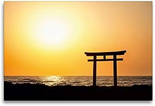 Premium textilduk 120 cm x 80 cm tvär, japansk toria vid soluppgång | väggbild, bild på kil ram, färdig bild på äkta kanva...