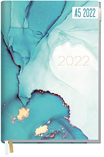 Chäff-Timer Classic Kalender 2022 A5 [Smaragd Gold] mit 1 Woche auf 2 Seiten   Terminplaner, Wochenkalender, Organizer, Terminkalender mit Wochenplaner   nachhaltig & klimaneutral