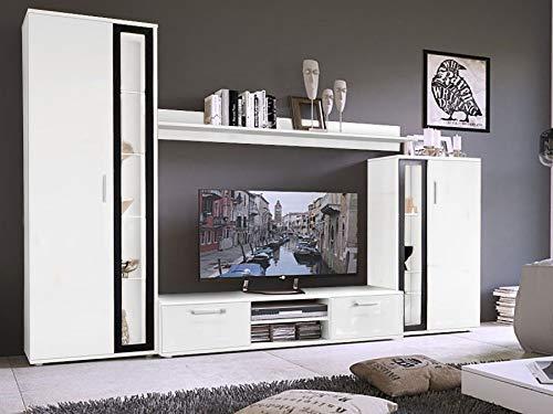 KRYSPOL Wohnwand Bentley WEIß, Anbauwand, Wohnzimmer-Set, Wohnzimmerschrank, Modern Design (Weiß Matt, ohne Beleuchtung)