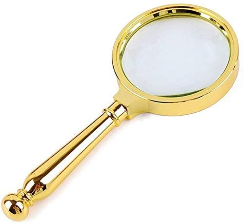 Lupas iluminadas montadas en la cabeza , Magnifier de lectura de mano, magnificada 8 veces el mango de metal Oro, adecuado para los ancianos para leer lentes de periódico Ayuda a la visión para pasati