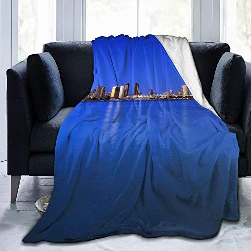 Affordable shop Fleece-Decke, 127 x 152,4 cm, San Diego USA City Night Moon Home Flanell-Fleece, weich, warm, Plüsch-Überwurf, Decke für Bett/Couch/Sofa/Büro/Camping