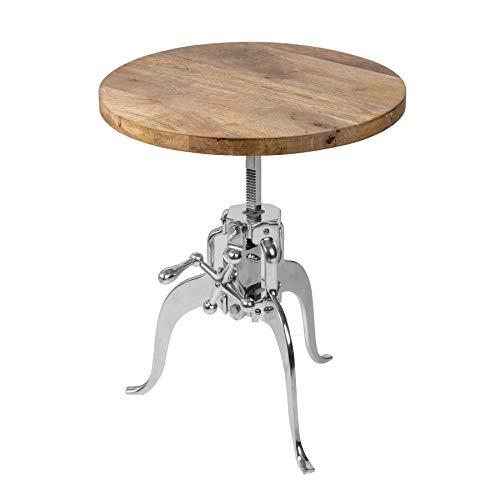 riess-ambiente.de Industrial Beistelltisch Industrial 50cm Mangoholz höhenverstellbar mit Zahnradfunktion Tisch Wohnzimmertisch
