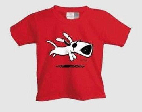 Ich + Ich - Laufender Hund Kinder Shirt rot/red - Gr.: 118-128 (8)