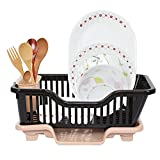 Cutting EDGE Durable Plastic Kitchen Sink Large Dish Rack Drainer Drying Rack Washing Basket with Tray for Kitchen, Dish Rack Organizers, Utensils Tools (Black and Beige)