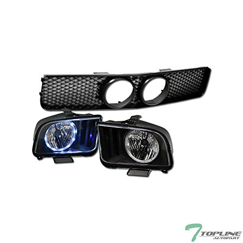 Topline Autopart Factory Crystal Style Black Clear LED Halo Headlights Signal NB...