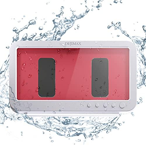 DEJIMAX バスルーム携帯電話防水ボックス スマホ防水ケース スマホホルダー 防水HD壁掛け 防水 防霧 タッチ可能 強力粘着 壁掛け ラック 浴室 洗面所 キッチン トイレなどに適用 白い