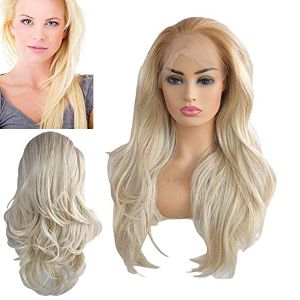 Gold Long Wavy Platinum Blonde Glueless Lace Wig Part Natural Heat Resistant Synthetic Hair Wigs (a)