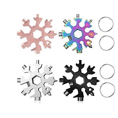 18-in-1 Snowflake Multi Tool,Portable Stainless Steel Snowflake Bottle Opener/Flat Phillips Screwdriver Kit/Wrench Tool snowflake tool card, Christmas Thanksgiving Day's Gift (4 Colors)