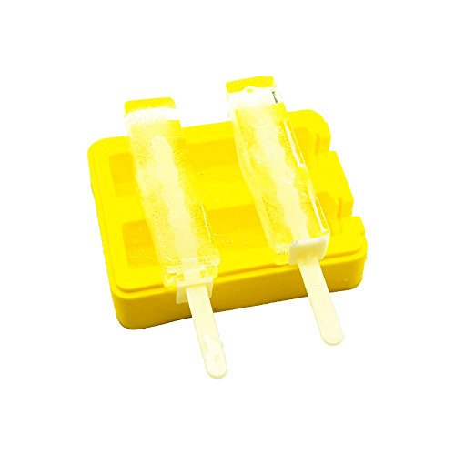 Functional Design For Easy Ice Removal // Make Perfect Ice Pops w// Water Soft Drinks// Great Party Gadget Golden Spoon 4335512530 Ultimate Silicone Popsicle Molds: Premium Set Of 2 Ice Pop Makers w// Lids// Sturdy Fresh Juice