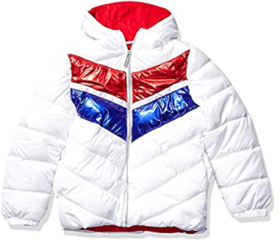 Limited Too Girls' Big Striped FOIL Colorblock Puffer, White, 10/12