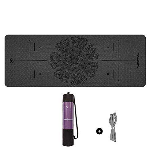 YSHJF yogamat TPE-serie lotusbloem 183 x 61 cm x 6 mm lijn balans, antislip, milieuvriendelijke fitnessmat, fitnessmat, fitnessmat, fitnessmat, fitnessmat, fitnessstudio, sport met yogatas
