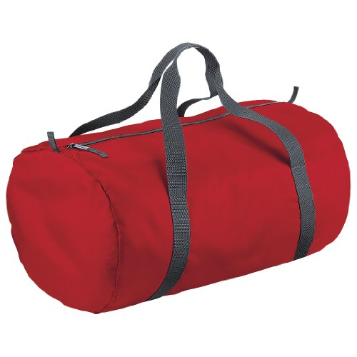 BagBase Packaway Barrel Bag/Duffle Water Resistant Travel Bag (32 Litres) (Pack of 2) (One Size) (Classic red)