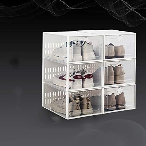HHTX Paquete de 6 Cajas de Almacenamiento de Zapatos apilables, Caja de Zapatos de plástico Transparente PORTÁTIL Plegable para armarios, Zapatero de Entrada, Dormitorio, Sala de Estar-A 33.7x23.