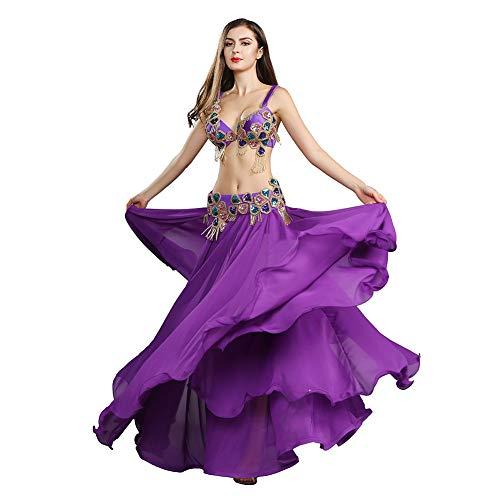ROYAL SMEELA Cinturón Sujetador Falda Danza del Vientre Traje de Danza del Vientre Mujer Vestido de Baile Flamenco Falda Larga de Gasa cinturón y Sujetador Abalorios Carnaval
