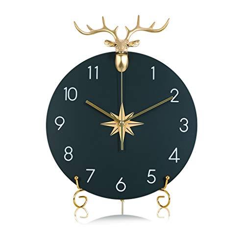 jinyi2016SHOP Pendeluhr Nordic Hirschkopf Clock Metallhalterung Tischuhr Wohnzimmer Desktop Moderne minimalistische Mode Tischuhr Ornamente Einfach zu lesen Design Pendel-Wanduhr (Color : C)