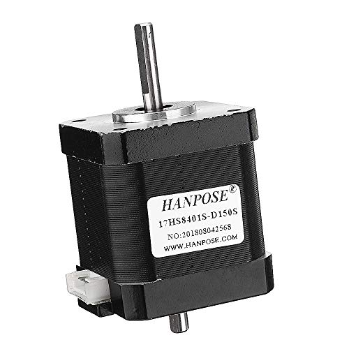 Asdomo 17HS8401S-D150S Doble eje 48 mm Nema 17 Motor paso a paso 42 Motor 42BYGH 1.8A 52N.cm 4 conductores para impresora 3D CNC láser