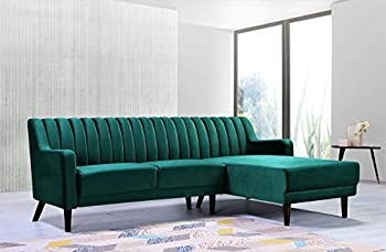 Container Furniture Direct Liberty Mid Century Velvet Upholstered Right Facing Sleeper Sectional 89.36  Green