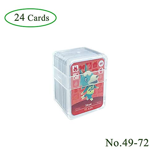 NFC Etikett Spielkarten Tag Game Cards für Animal Crossing, 24Stk(No. 49-No. 72). Botw Karten Cards mit Kristall Hülle kompatibel mit Nintendo Switch / Wii U