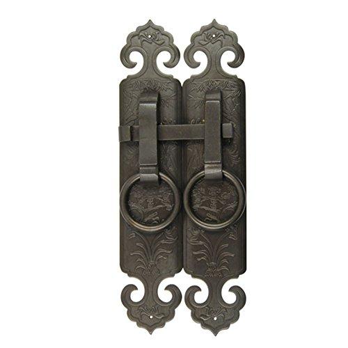 Aldaba,Mango clásico Puerta y ventana manija de latón antiguo ventilador Manija recta Manijas de muebles Gabinete de cara plana 4 * 20cm-C