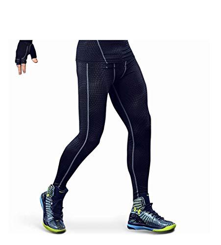 HJL Compressione Elastica per Uomo Calzamaglia Sportiva ad Asciugatura Rapida Fitness Nove Punti Pantaloni Allenamento da Basket,Pink,XL